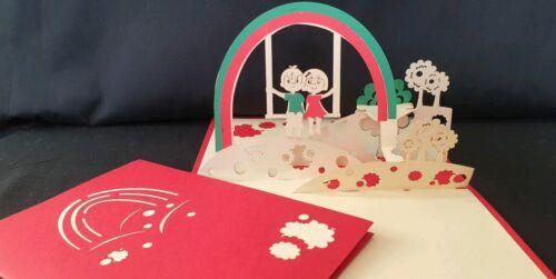 Valentine, participar, aniversario 3D Pop Up romántico pareja en Arco Iris columpios Tarjeta.