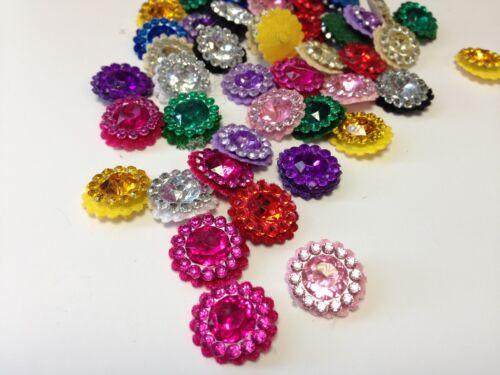 50 x 15mm Fabric Acrylic Gems Embellishment DIY Card Making Stick on Craft