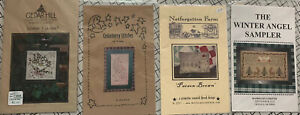 Primitive-Winter-Cross-Stitch-And-Thread-Charts-Lot-Of-4-Snowman-Floral-Sampler