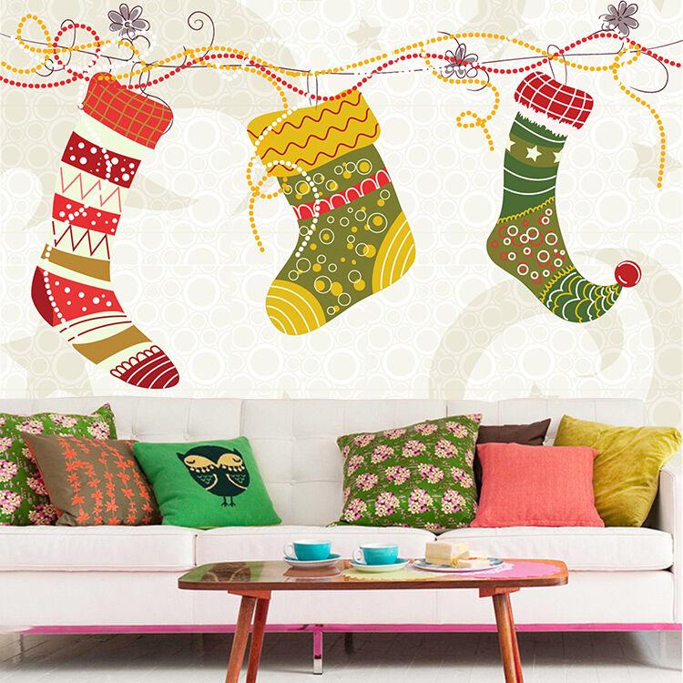 3D Weihnachten Strümpfe 255 Fototapeten Wandbild BildTapete Familie DE