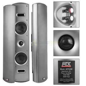 """2 Pack Dual 4"""" Home Theater Indoor Outdoor Speakers Wall Mountable Multi Purpose"""