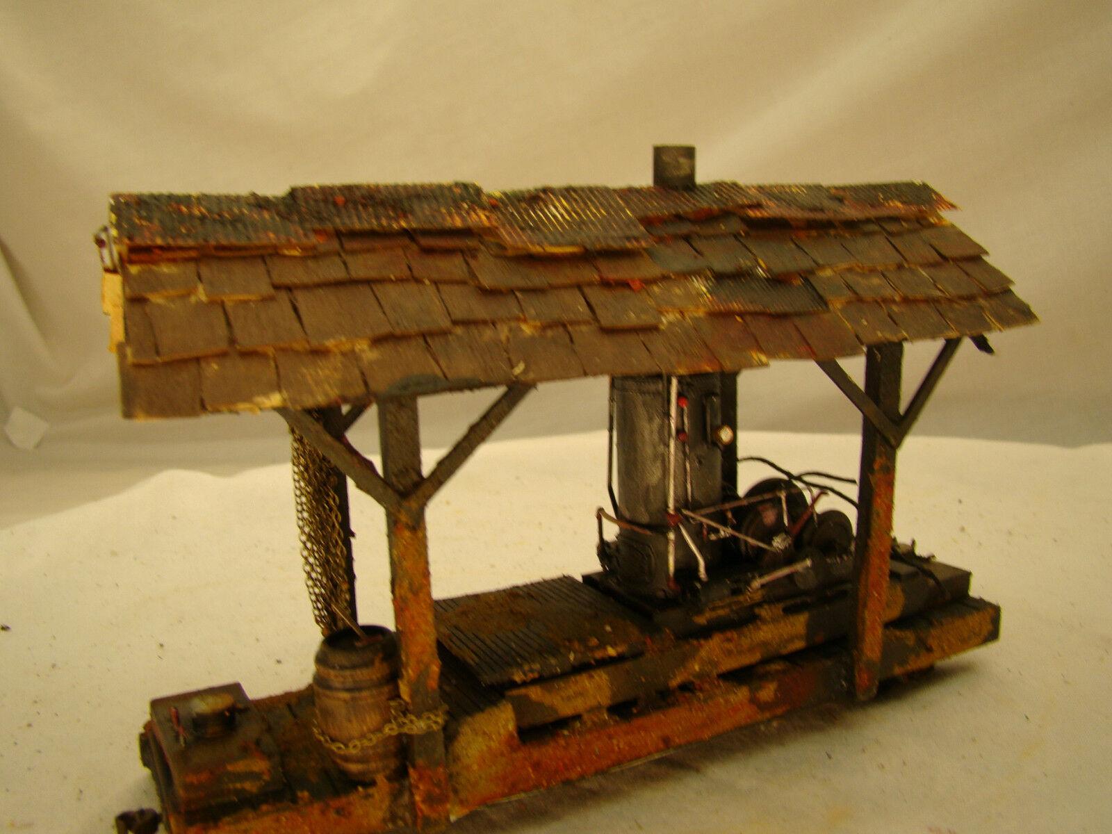 On30 Steam Donkey Logging Wench Diorama - custom weatherosso - lot 14