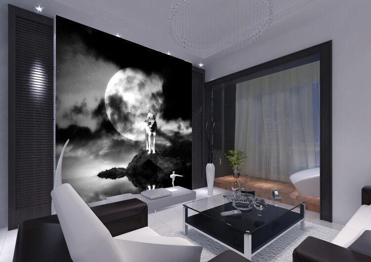 3D Mondscheinwolf 57 Tapete Tapeten Mauer Foto Familie Tapete Wandgemälde Summer