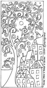 Teppich Haken Basteln Papier Muster Swirl Tree 2 Vögel und Häuser Volkskunst Karla Gerard