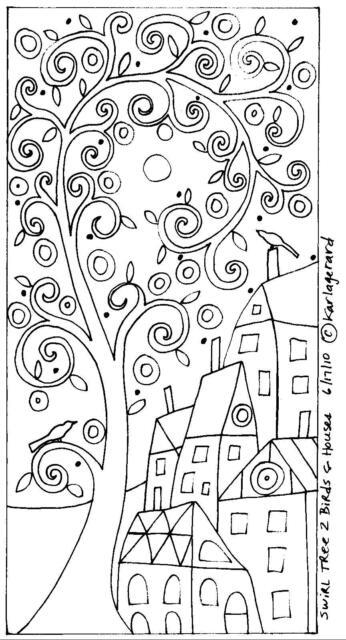 RUG HOOK CRAFT PAPER PATTERN Swirl Tree 2 Birds and Houses FOLK ART Karla Gerard