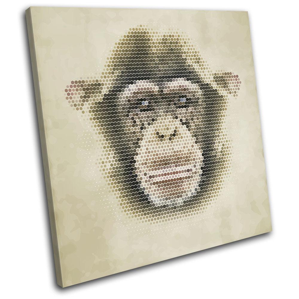 Geometric Asbtract Monkey Animals SINGLE TOILE murale ART Photo Print