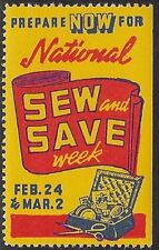 "USA Poster stamp: WWII,1940s ""Prepare Now for National Sew and Save Week""-dw194a"