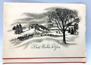 Christmas Horse Drawing.Details About Vintage Horse And Sleigh Farm Town Pencil Drawing Christmas Card 1950 S