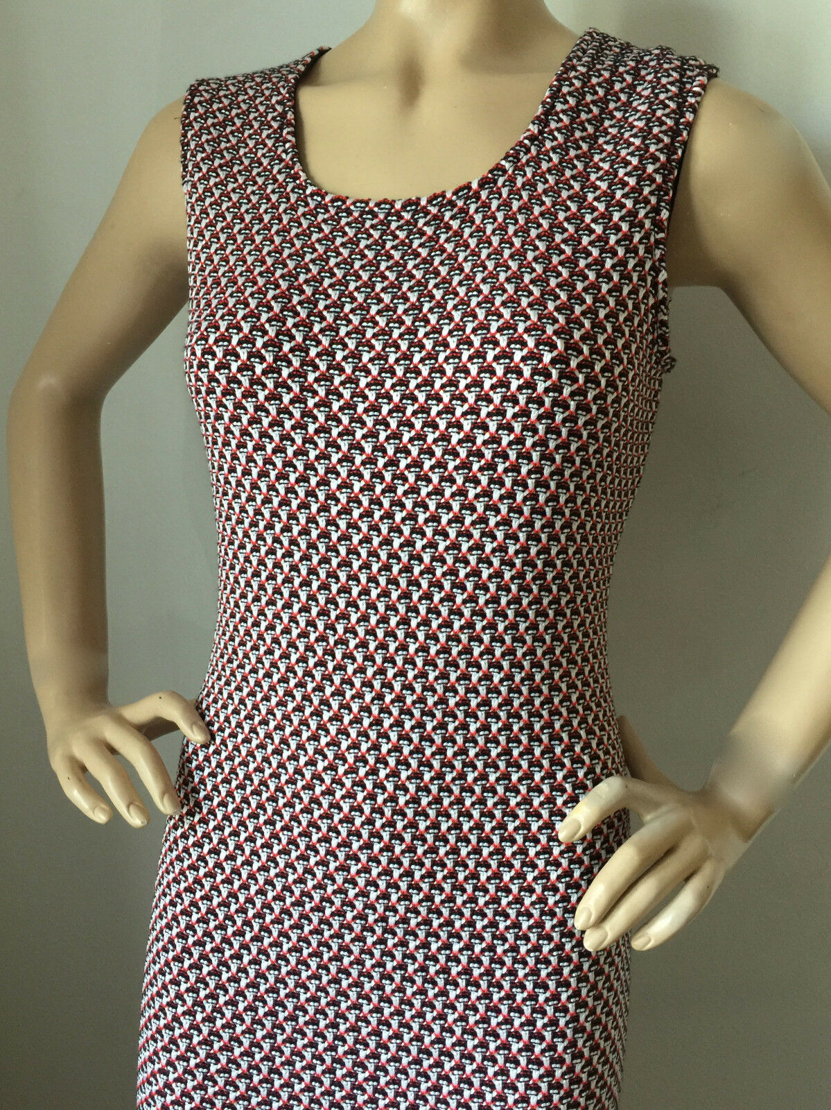 NEW ST JOHN KNIT SIZE 6 6 6 WOMENS DRESS TWEED SHEATH NAVY WHITE & CORAL RED WOOL 306778