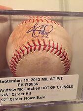 Andrew McCutchen Auto Game Used Baseball. Single. 618th Career Hit. 97th