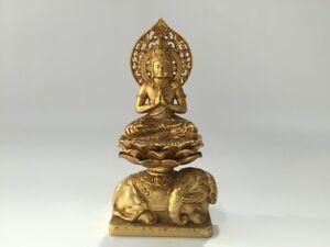 Japones-Metal-Budista-Estatua-Okimono-Vtg-Kannon-God-Firmado-Shuun-Dorado-R156