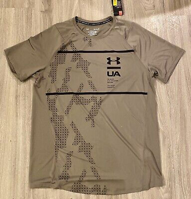NWT Men's XL Green Under Armour Fitted Patterned MK-1 Training Shirt 1327251 $35