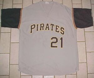 new concept ec9ae e880a Details about Pittsburgh Pirates Roberto Clemente #21 Park Anthony Gray  Pullover Jersey XL