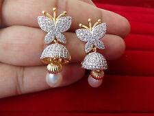 Latest Designer AD CZ Butterfly Zircon CZ Pearl Drop Earring Jhumka/Jhumki Stud