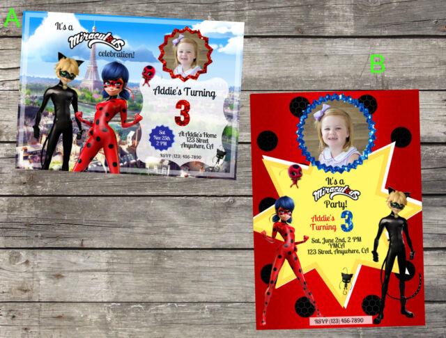 Personalized Miraculous Ladybug Cat Noir Birthday Invitation Digital File 5X7