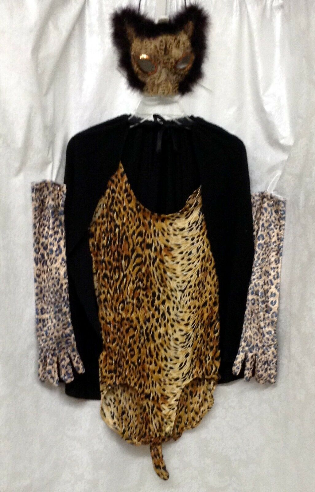 Sexy Spotted Cat Costume, Bodysuit, Cape, Gloves, 1/2 Mask, Size S/M