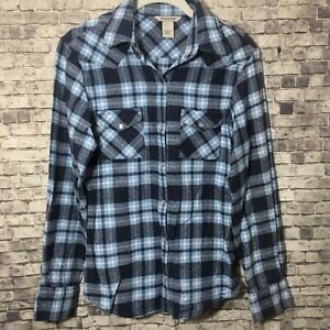Women-s-Field-And-Stream-Pearl-Snap-Western-Flannel-Plaid-Shirt-Small-Blue-Work