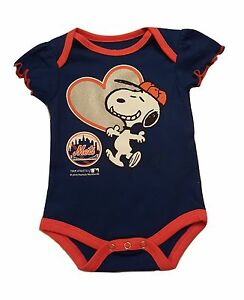 buy online b6ed8 8989b Details about New York Mets Infant Girls Creeper Snoopy Peanuts Baby Romper  MLB Apparel