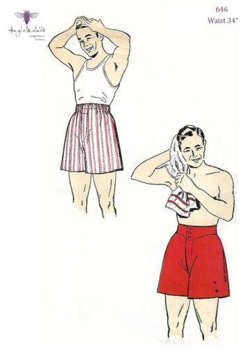 """Vintage 1940s patrón de costura para hombre Jockey Pantalones Cortos Boxer Shorts Cintura 34/"""" la segunda guerra mundial"""