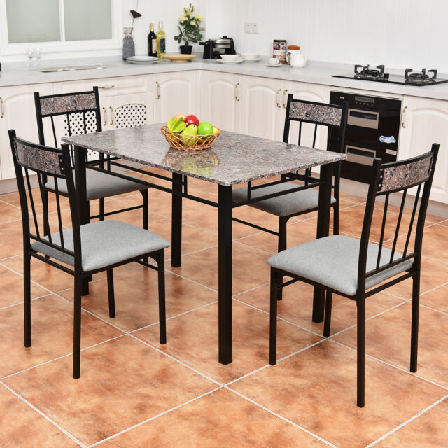 Marvelous 5 Piece Faux Marble Dining Set Table And 4 Chairs Kitchen Breakfast  Furniture