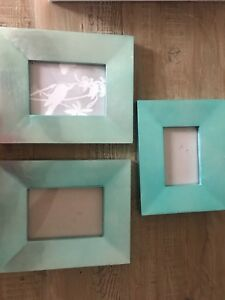 Z Gallerie Set Of 3 Picture Frames Arcadia Teal Blue 5 X 7 And 4