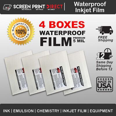 "Waterproof Inkjet Film for Screen Printing 8.5/"" x 11/"" 400 sheets 4 Mil"