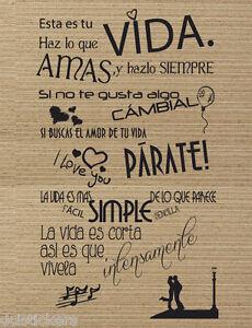 Vinilo decorativo #66# VIVE LA VIDA pegatina pared o nevera