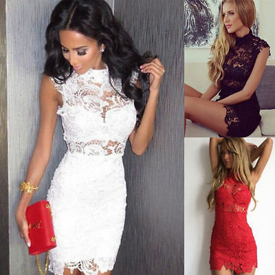 Summer Women Short Mini Lace Dress Prom Evening Party Cocktail Bridesmaid Gown