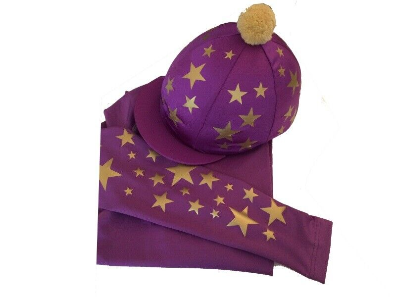 Cross Country Base layer Silk, Purple with gold scattered stars