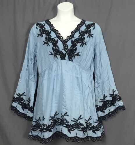 plus size ROAMAN/'s denim 24//7 embroidered peasant boho TUNIC sizes 12w-32w blue