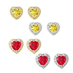14k-Yellow-or-White-Gold-Halo-Heart-Stud-Earrings-Birthstone