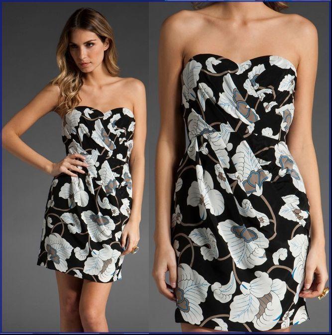 Nuevo Con Etiquetas  345 Tibi New York blanco  Negro Multi Seda Floral Strapless Vestido De Cóctel  tienda de bajo costo