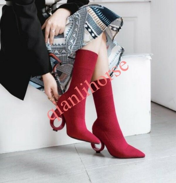 Fashion Round Circle Heel Heel Heel Knitting Pointed Toe Elastic Sexy Women's Ankle Boots 8cb2f9