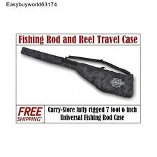 """Universal Fishing 5-Rod and Reel Travel Case Holds 5 - 7'6"""" Rods"""