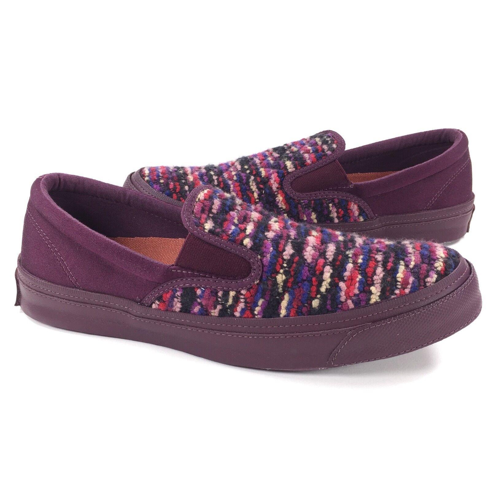 New Converse x Missoni All Star Deckstar Slip On Sz 9 Uomo / 11 Donna Maroon Knit