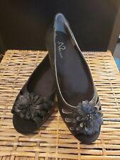 ba5ac65ea A2 by Aerosoles Women's Black Open Toe Flats Size 7M Slip On Flower on Vamp