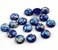 12mm 48pcs Resin Round Cameo Mixed Peacock Feather Cabochon Jewelry Accessories