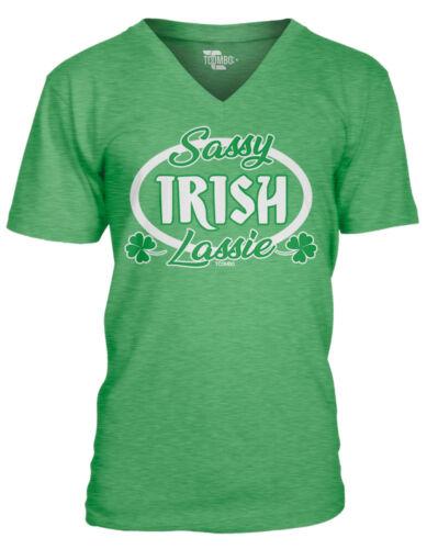 St Patricks Day Beer Pint Shamrock Ireland MensVee T-Shirt Sassy Irish Lassie
