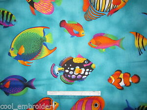 Fish-Dolphin-whales-sharks-Sea-cotton-quilting-fabric-Choose-design-amp-size