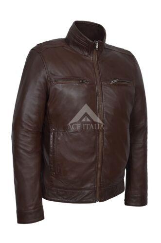 Giacca pelle retro zip marrone stile da con uomo morbida urban uomo 999 di in bomber casual PrfPqw