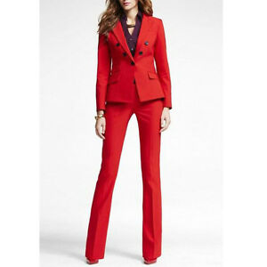 Red Office Uniform Designs Women Business Suit Double Breasted Lady