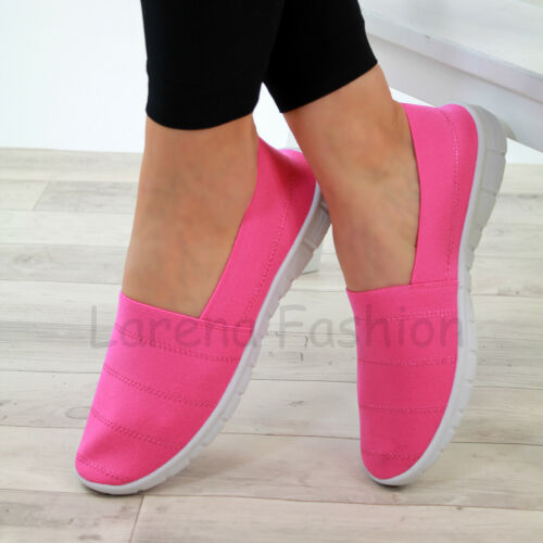 New Womens Slip On Trainers Flat Casual Sneakers Comfy Pumps Gym Shoes Sizes 3-8