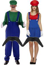 Mens Luigi + Ladies Mario Couples 80s Plumber Fancy Dress Costume + Moustache