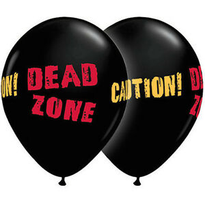 HALLOWEEN-PARTY-SUPPLIES-BALLOONS-10-x-11-034-QUALATEX-CAUTION-DEAD-ZONE-BALLOONS