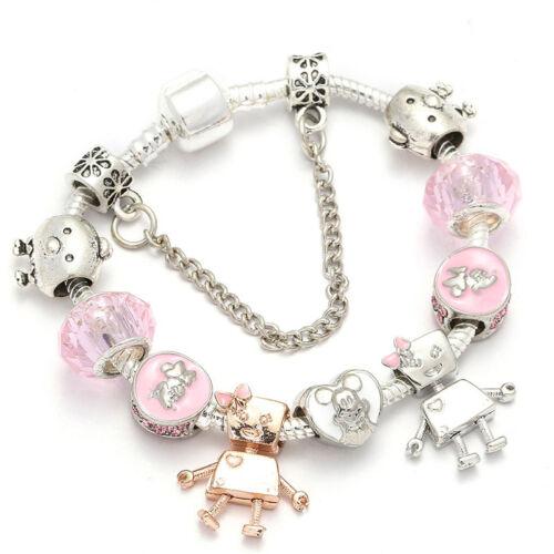 Mickey Crystal charm Bracelet Européen Pendentif Perles Femmes /& enfant bijoux nouveau