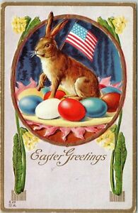 Rare-Bunny-Rabbit-with-American-Flag-Eggs-Antique-Patriotic-Easter-Postcard-p375