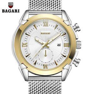 BAGARI-Men-039-s-Fashion-Mesh-Strap-Watch-Roman-Numerals-Dial-Quartz-Wristwatch-Gift