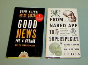 2-Books-Signed-by-David-Suzuki-GOOD-NEWS-TROUBLED-PLANET-Environment-ECO-CRISIS