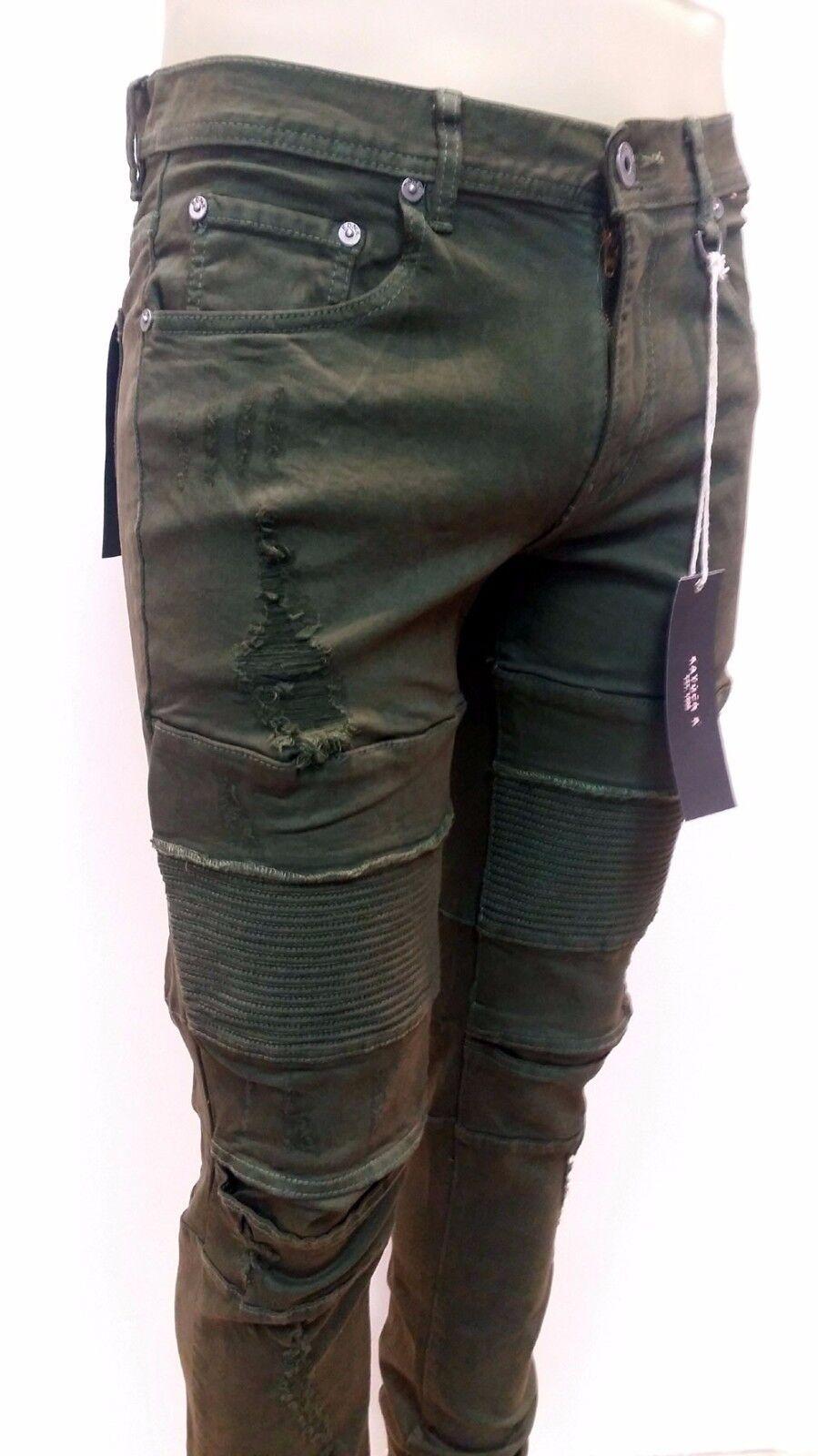 KAYDEN.K Men's Premium Destroy Slim Fit Moto Biker Jeans Pants Olive 520
