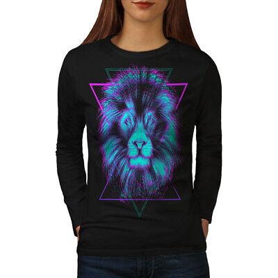 Onesto Wellcoda Re Della Giungla Leone Da Donna Manica Lunga T-shirt, Animale Design Casual-mostra Il Titolo Originale